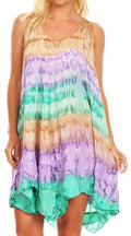 Sakkas Artemi Women's Casual Short Tie-dye Sleeveless Loose Tank Dress Cover-up#color_BrownMint