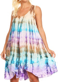 Sakkas Artemi Women's Casual Short Tie-dye Sleeveless Loose Tank Dress Cover-up#color_BrownTurq