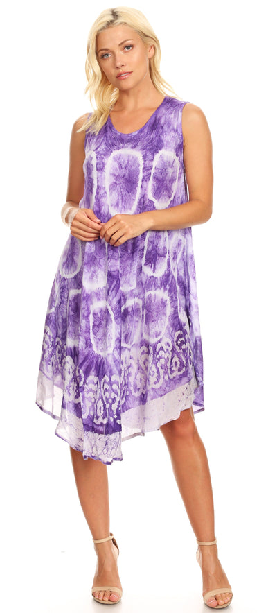 group-18151-Purple (Sakkas Kora Women's Casual Sleeveless Swing Midi Summer Dress Tank Dress Cover-up)