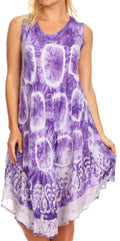 Sakkas Kora Women's Casual Sleeveless Swing Midi Summer Dress Tank Dress Cover-up#color_18151-Purple