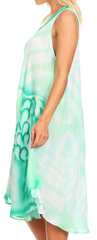 group-SeaGreen (Sakkas Kora Women's Casual Sleeveless Swing Midi Summer Dress Tank Dress Cover-up)