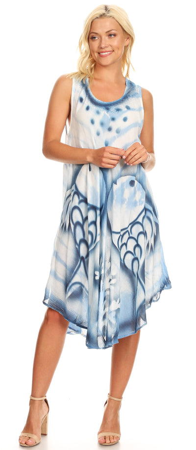 group-Blue (Sakkas Kora Women's Casual Sleeveless Swing Midi Summer Dress Tank Dress Cover-up)