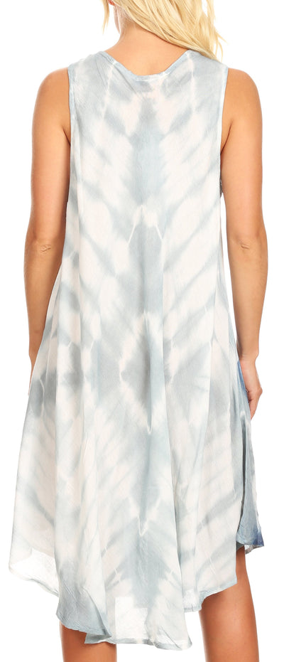 group-Gray (Sakkas Kora Women's Casual Sleeveless Swing Midi Summer Dress Tank Dress Cover-up)