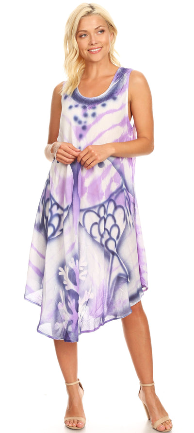 group-Purple (Sakkas Kora Women's Casual Sleeveless Swing Midi Summer Dress Tank Dress Cover-up)