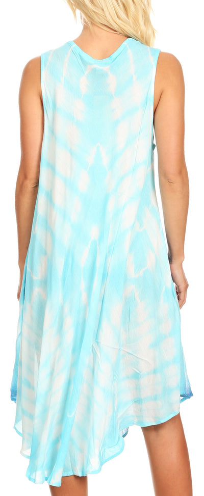 group-Turquoise (Sakkas Kora Women's Casual Sleeveless Swing Midi Summer Dress Tank Dress Cover-up)