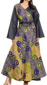 group-137-YellowMulti (Sakkas Mica Women's Boho Maxi Loose Long Chambray African Wrap Dress with Pockets)