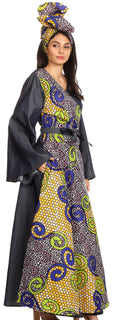 Sakkas Mica Women's Boho Maxi Loose Long Chambray African Wrap Dress with Pockets#color_137-YellowMulti