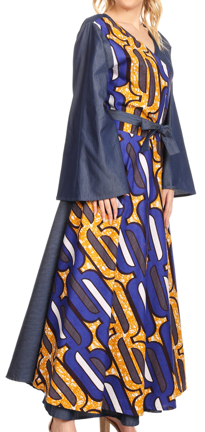 group-418-Chambray-Blue/yellow (Sakkas Mica Women's Boho Maxi Loose Long Chambray African Wrap Dress with Pockets)
