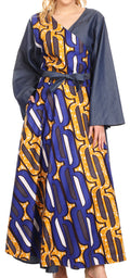 Sakkas Mica Women's Boho Maxi Loose Long Chambray African Wrap Dress with Pockets#color_418-Chambray-Blue/yellow