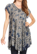 Sakkas Gilda Women's Summer Casual Short/ Long Sleeve Swing Dress Tunic Cover-up#color_19228-Blue