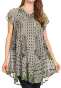 Sakkas Gilda Women's Summer Casual Short/ Long Sleeve Swing Dress Tunic Cover-up#color_19228-Green
