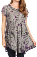 Sakkas Gilda Women's Summer Casual Short/ Long Sleeve Swing Dress Tunic Cover-up#color_19228-Purple