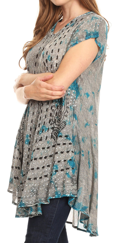 group-19228-Turquoise (Sakkas Gilda Women's Summer Casual Short/ Long Sleeve Swing Dress Tunic Cover-up)