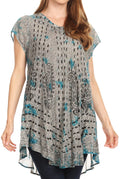 Sakkas Gilda Women's Summer Casual Short/ Long Sleeve Swing Dress Tunic Cover-up#color_19228-Turquoise