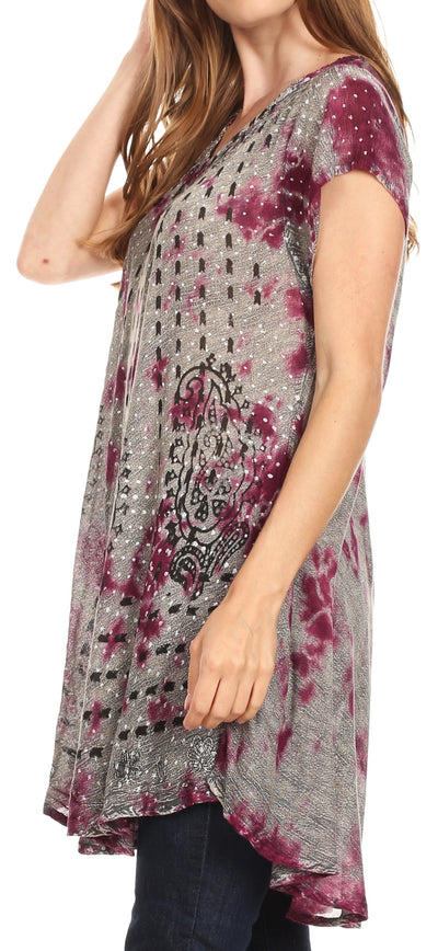 group-19228-Violet (Sakkas Gilda Women's Summer Casual Short/ Long Sleeve Swing Dress Tunic Cover-up)