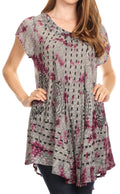 Sakkas Gilda Women's Summer Casual Short/ Long Sleeve Swing Dress Tunic Cover-up#color_19228-Violet