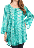 Sakkas Gilda Women's Summer Casual Short/ Long Sleeve Swing Dress Tunic Cover-up#color_19258-EmeraldGreen