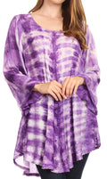 Sakkas Gilda Women's Summer Casual Short/ Long Sleeve Swing Dress Tunic Cover-up#color_19258-Purple