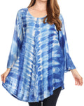Sakkas Gilda Women's Summer Casual Short/ Long Sleeve Swing Dress Tunic Cover-up#color_19258-RoyalBlue