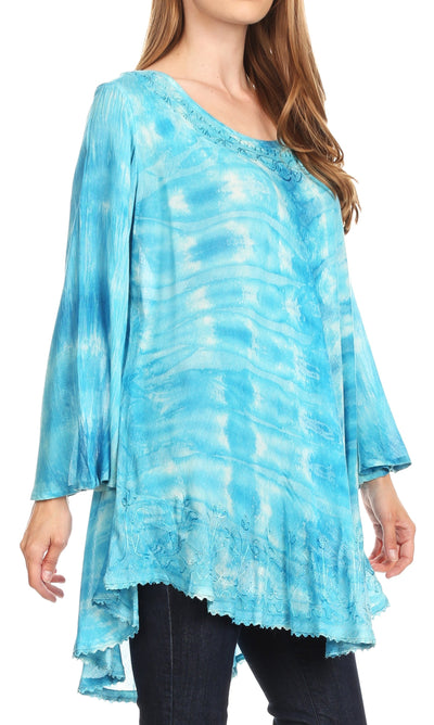 group-19258-Turquoise (Sakkas Gilda Women's Summer Casual Short/ Long Sleeve Swing Dress Tunic Cover-up)