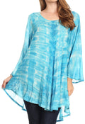 Sakkas Gilda Women's Summer Casual Short/ Long Sleeve Swing Dress Tunic Cover-up#color_19258-Turquoise
