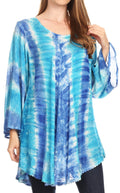 Sakkas Gilda Women's Summer Casual Short/ Long Sleeve Swing Dress Tunic Cover-up#color_19258-TurqBlue