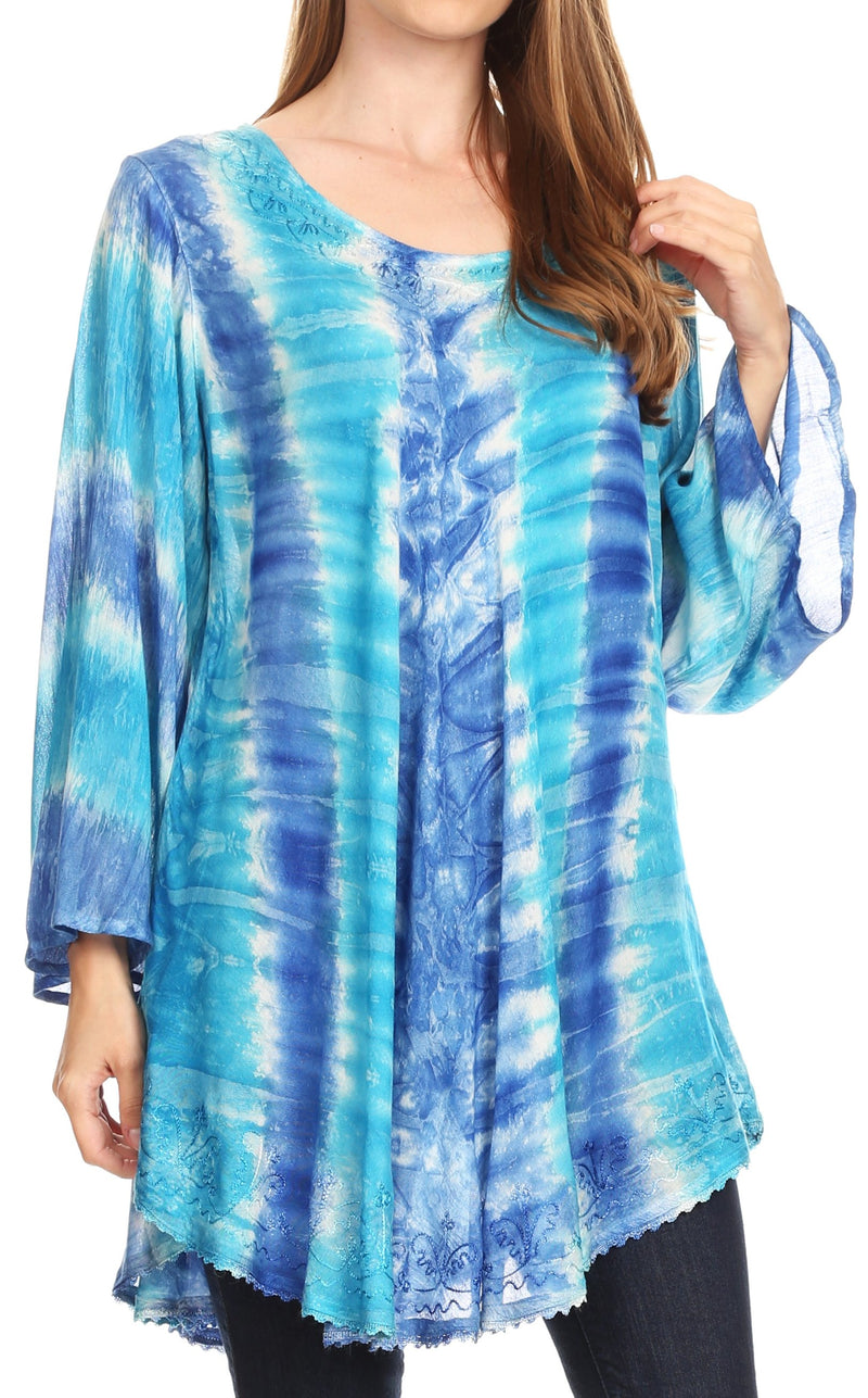 Sakkas Gilda Women's Summer Casual Short/ Long Sleeve Swing Dress Tunic Cover-up
