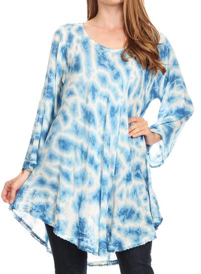 group-19259-SkyBlue (Sakkas Gilda Women's Summer Casual Short/ Long Sleeve Swing Dress Tunic Cover-up)