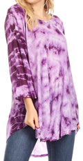 Sakkas Gilda Women's Summer Casual Short/ Long Sleeve Swing Dress Tunic Cover-up#color_19259-Violet