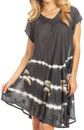Sakkas Gilda Women's Summer Casual Short/ Long Sleeve Swing Dress Tunic Cover-up#color_Gray