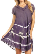Sakkas Gilda Women's Summer Casual Short/ Long Sleeve Swing Dress Tunic Cover-up#color_Lavender