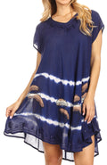 Sakkas Gilda Women's Summer Casual Short/ Long Sleeve Swing Dress Tunic Cover-up#color_Navy