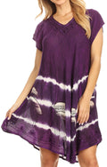 Sakkas Gilda Women's Summer Casual Short/ Long Sleeve Swing Dress Tunic Cover-up#color_Purple