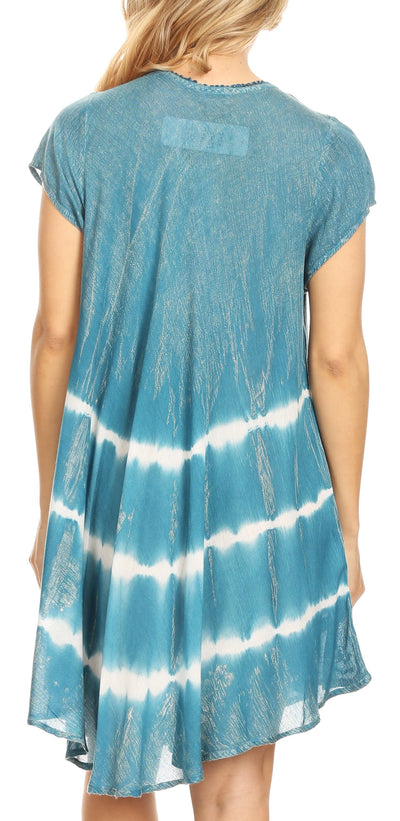 group-Teal (Sakkas Gilda Women's Summer Casual Short/ Long Sleeve Swing Dress Tunic Cover-up)