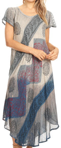 Sakkas Jonna Women's Short Sleeve Maxi Tie Dye Batik Long Casual Dress#color_19240-Blue