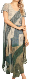 Sakkas Jonna Women's Short Sleeve Maxi Tie Dye Batik Long Casual Dress#color_19240-Green