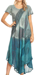 Sakkas Jonna Women's Short Sleeve Maxi Tie Dye Batik Long Casual Dress#color_19240-Turquoise
