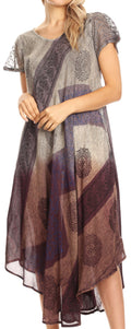 Sakkas Jonna Women's Short Sleeve Maxi Tie Dye Batik Long Casual Dress#color_19240-Violet