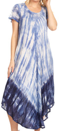 Sakkas Jonna Women's Short Sleeve Maxi Tie Dye Batik Long Casual Dress#color_19241-Blue