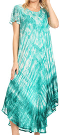 Sakkas Jonna Women's Short Sleeve Maxi Tie Dye Batik Long Casual Dress#color_19241-EmeraldGreen