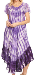 Sakkas Jonna Women's Short Sleeve Maxi Tie Dye Batik Long Casual Dress#color_19241-Purple
