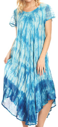 Sakkas Jonna Women's Short Sleeve Maxi Tie Dye Batik Long Casual Dress#color_19241-Turquoise