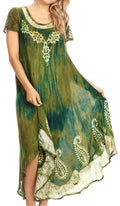 Sakkas Jonna Women's Short Sleeve Maxi Tie Dye Batik Long Casual Dress#color_19243-Green
