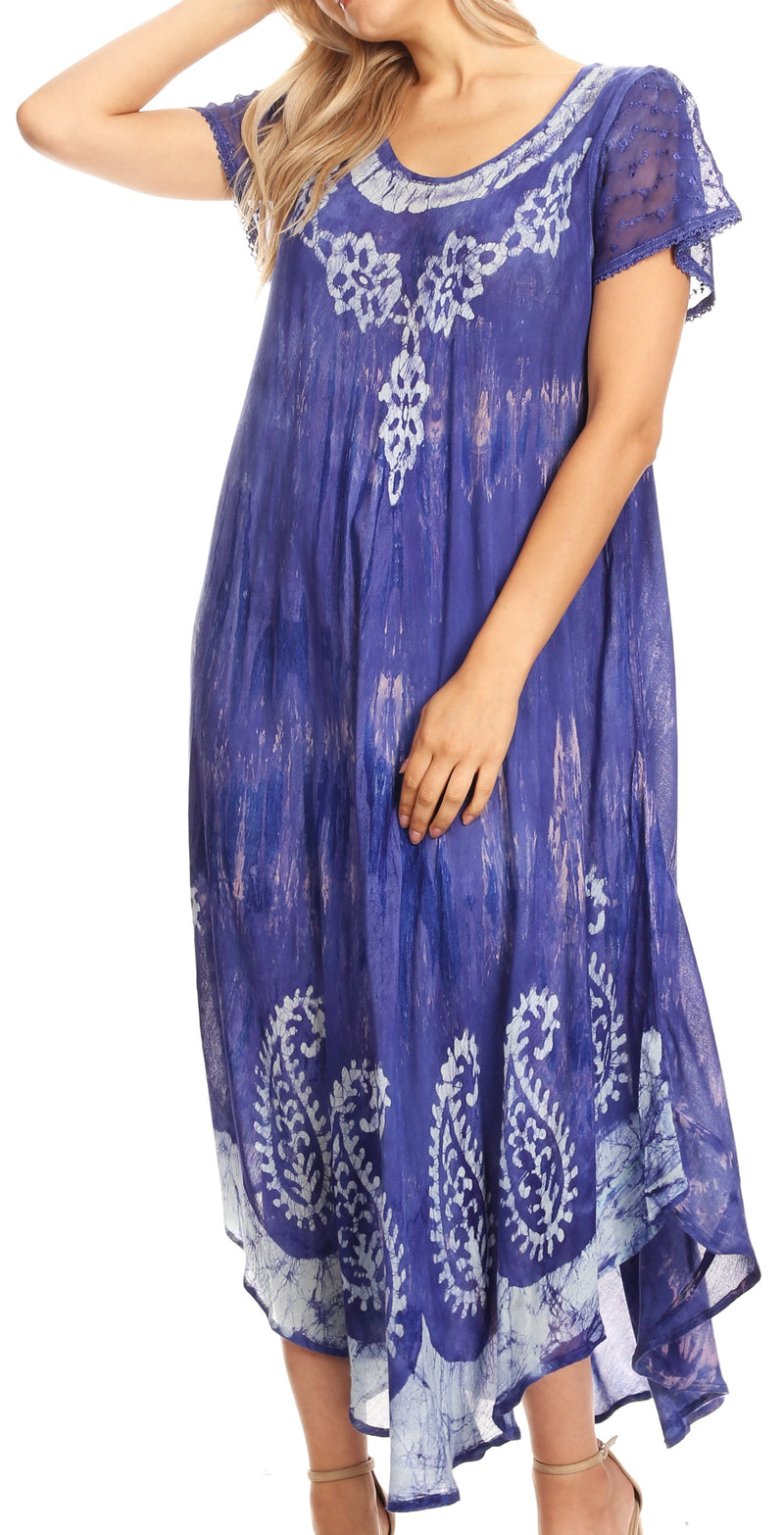 Sakkas Jonna Women's Short Sleeve Maxi Tie Dye Batik Long Casual Dress