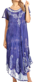 Sakkas Jonna Women's Short Sleeve Maxi Tie Dye Batik Long Casual Dress#color_19243-Periwinkle