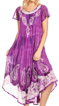 Sakkas Jonna Women's Short Sleeve Maxi Tie Dye Batik Long Casual Dress#color_19243-Purple