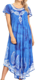 Sakkas Jonna Women's Short Sleeve Maxi Tie Dye Batik Long Casual Dress#color_19243-RoyalBlue