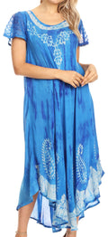 Sakkas Jonna Women's Short Sleeve Maxi Tie Dye Batik Long Casual Dress#color_19243-SkyBlue