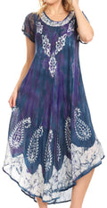 Sakkas Jonna Women's Short Sleeve Maxi Tie Dye Batik Long Casual Dress#color_19243-Violet