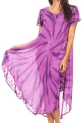 Sakkas Jonna Women's Short Sleeve Maxi Tie Dye Batik Long Casual Dress#color_19338-Purple